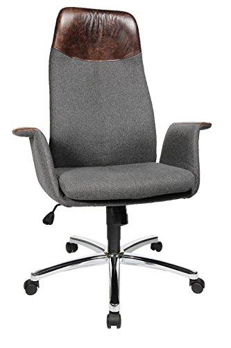 Topstar Air Lounge, ergonomischer, komfortabler Retro Bürostuhl, Schreibtischstuhl, Chefsessel, Schurwolle, Grau