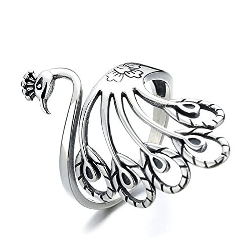 ILOVE 925 Anello in argento Sterling con pavone da donna, regolabile, anello vintage per ragazza aperto dito creativo regalo