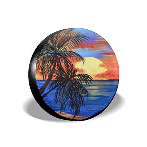 N\A Cubierta de neumático de Repuesto de Pintura de Puesta de Sol Tropical Impermeable a Prueba de Polvo para Jeep, Remolque, RV, SUV, camión y Otros vehículos