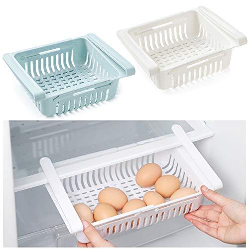 DAOSSU Frigorífico Retráctil de Cocina Organizador de Cajones Retráctil Frigoríficos Organizadores de Cajones Utilizado for Refrigeradores y Congeladores Mesas Escritorios y Armarios (2 Piezas)