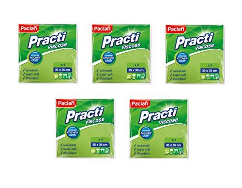 PACLAN Viskosefaser Reinigungstücher Viskosefasertuch (100% Viskose) Poliertücher Putztücher 5er Set