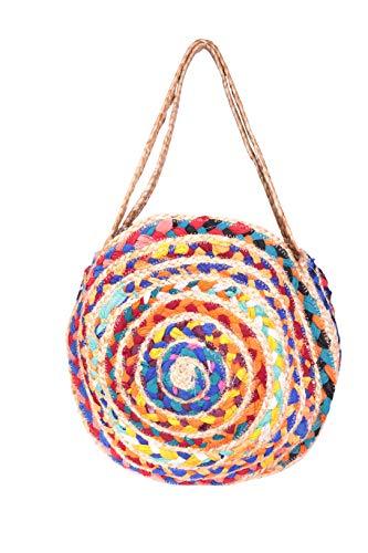 Angkorly - handtas hengseltassen mini crossbody tas dode tas zakklein sjaal afdrukken gevlochten bohemen romantisch rond voor elke dag dames trendy tas elegant cadeau-idee