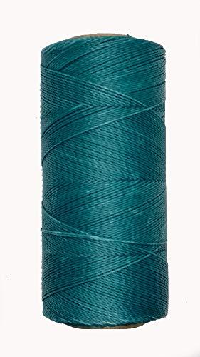 LINHASITA Bobina Hilo Encerado 100gr / 360 Metros 0,5 mm de Grosor Poliester Macrame 30 Colores (Azul Turquesa)