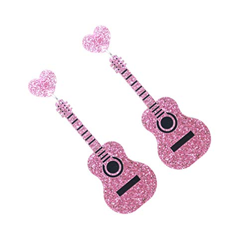 ABOOFAN Guitar Dangle Earrings Glitter Novelty Instrument Jewelry Earrings Antique Musical Drop Earrings for Women Teen Girls Gifts for Music Lovers