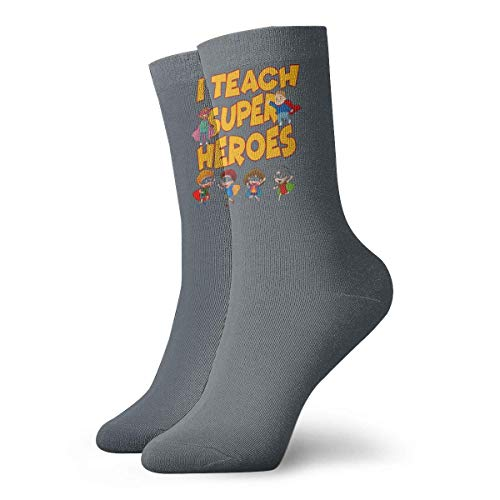 Lsjuee Enseño superhéroes regalo para profesores Unisex Crew moda novedad calcetines calcetines de vestir calcetines divertidos