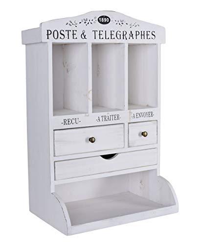 Wandschrank Shabby Chic Wandregal Weiss Briefhalter Ablage Antik Hängeschrank mxa088 Palazzo Exklusiv