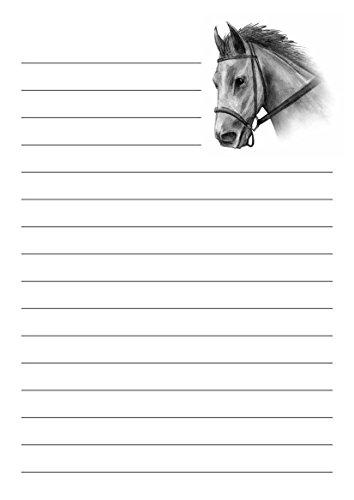 10 A5 Cheval conçu pour écriture Petits Établissements papier – Papier ligné – Enveloppes assorties également disponibles