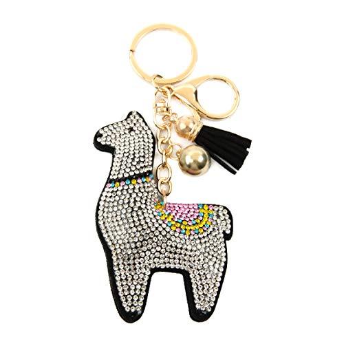 Cute Keychain Bag Charm Key Ring - Purse Pendant Tassel Fruits, Animals, Sports Ball Game, College Team, Wristlet Strap Lanyard (Animal Sparkly - Llama Black)