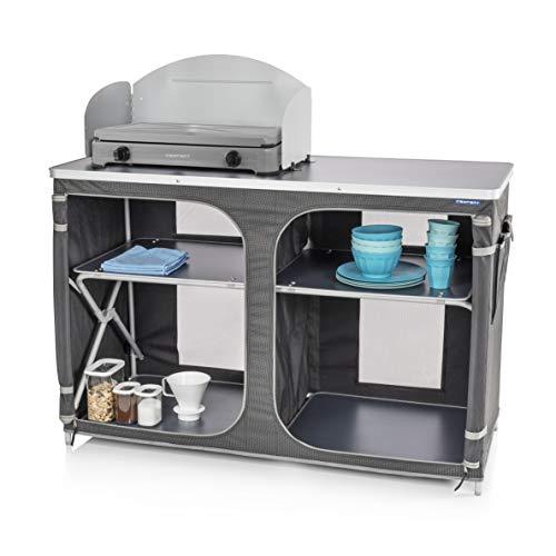 Campart Almeria mulitfunktionale Campingküche - zusammenklappbar, mit zwei Ablagefächer und Aufbewahrungstasche, KI-0710