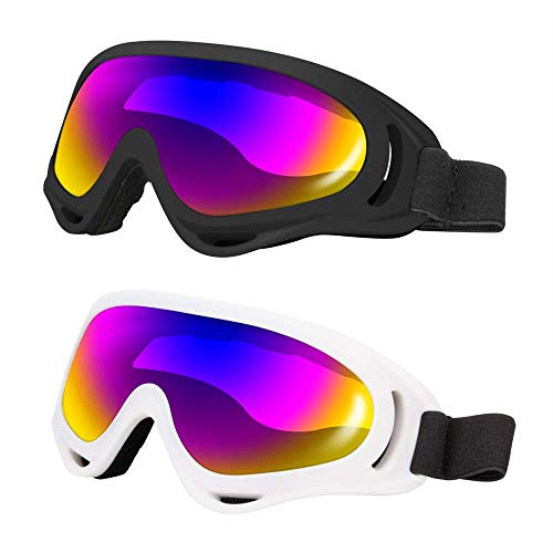 LJDJ Ski Goggles Pack of 2 - Snowboard Motorcycle Goggles Glasses for Boys Girls Youth Men Women