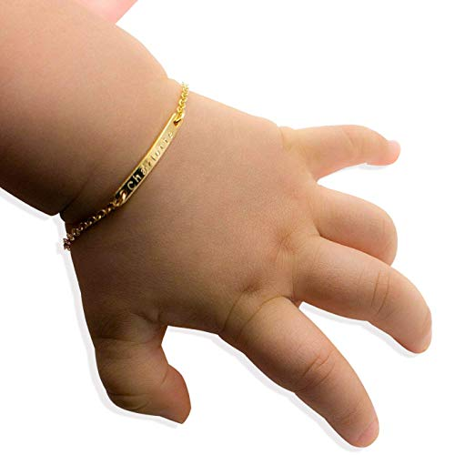 Baby Name Bar id Bracelet Baby Gift Personalized gift 16k Gold Plated Dainty Hand Stamp Your Baby Name Customized New Born to Children First Birthday Great Gift