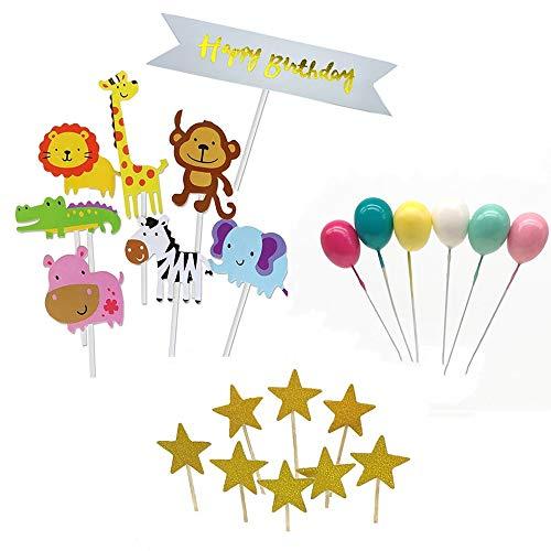 Decoración para Tarta,Decoraciones de Pasteles cumpleaños,8 Piezas Bosque animal ,6 globos 3D ,10 estrellas brillantes ,para Decoración de Fiesta,Decoración de etiquetas de postre