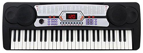 Kirstein FK-54 54 Tasten Keyboard inkl. Mikrofon zum Mitsingen (ideal für Kinder und Einsteiger, extra großes LCD-Display, 100 Sounds und Rhythmen, umfangreiche Lernfunktion, Kopfhöreranschluss)