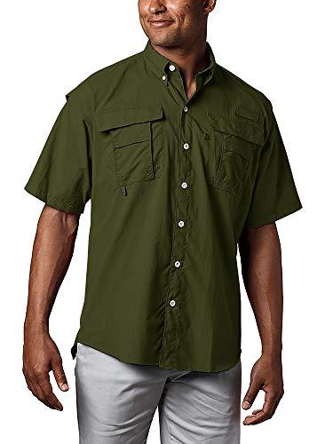 Jessie Kidden Herren Rash Guard Shorts Ärmel Quick Dry Sun UV 50+ Protect Convertible Shorts Sleeve For Hiking Work Travel Sailing Golf Military Shirts #5016-Army Green-L