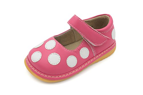 Little Mae's Boutique Mary Jane Hot Pink & White Polka-Dot Squeaky Shoes for Toddler Girls, Ideal Walking Shoes with Removable Squeaker and Adjustable Velcro Strap - Soft Sole Shoes for Little Girls
