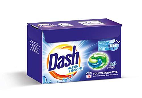 Dash® Alpen Frische 3 in 1 Caps I Vollwaschmittel-Caps für weiße Wäsche I 12 Waschladungen I 3 in 1 Formel für Frische, Reinheit und Sauberkeit | 318 g