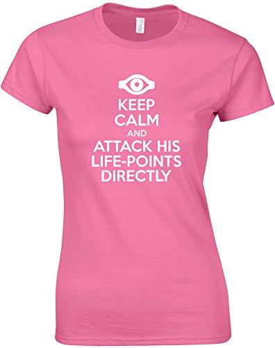 Keep Calm and Attack His Life-Points Directly, Mesdames T-Shirt imprimé - Azalée/Blanc L = 87-91cm
