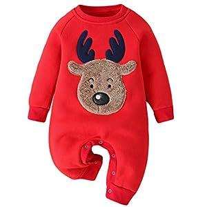 Pelele Navidad Bebe Pijama Entero Unisex Estampado de Reno Invierno Espesar Ropa de Dormir Recien Nacido Mameluco Monos/3-6 Meses