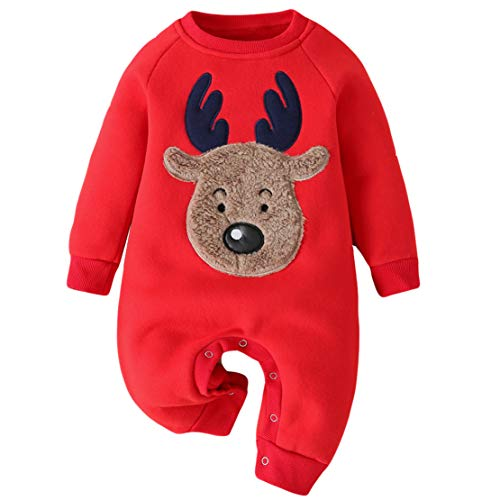 Pelele Navidad Bebe Pijama Entero Unisex Estampado de Reno Invierno Espesar Ropa de Dormir Recien Nacido Mameluco Monos/70