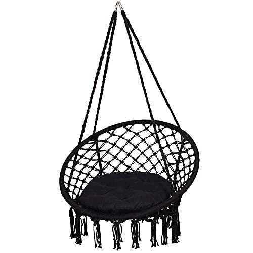 SPRINGOS Hamaca con cojín, columpio colgante en diseño de macramé, para interior y exterior, color negro