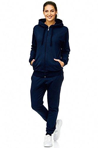 L.gonline Damen Jogginganzug Uni 586 | Baumwolle | Trainingsjacke mit Reißverschluss | Hose mit Gummizug und Zugband | Rippstrickbündchen | Navy, S