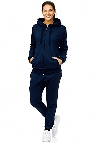 L.gonline Damen Jogginganzug | Trainings-Jacke mit Reißverschluss und Kapuze | Hose mit Tunnelzug und Zugband | Rippstrickbündchen an Arm-, Hüft- und Beinabschluss | S – 3XL (L, Navy)