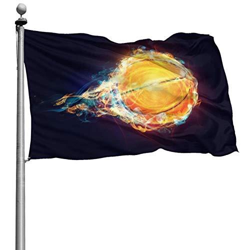 Bandera al aire libre de 4 x 6 pies 3d de velocidad de baloncesto con llamas a prueba de sol resistente a la decoloración para el hogar jardín banderas decorativas con ojales para desfiles patios