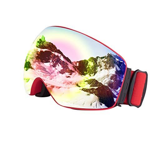 AFUT - Gafas de esquí, Color (Vlt 25%) Roter Rahmen/Revo Rote Linse