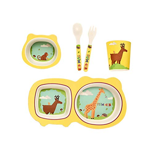 Xaviera Eco-Friendly Bamboo Fiber Children's Tableware New Product Dinner Plate 5-Piece Set Baby Cartoon Rice Bowl Spoon Fork Cup