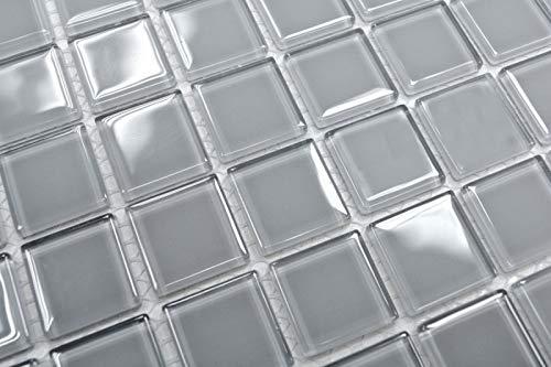 Mosaikfliese Transluzent grau Glasmosaik Crystal hellgrau BAD WC Küche WAND MOS60-0204_m