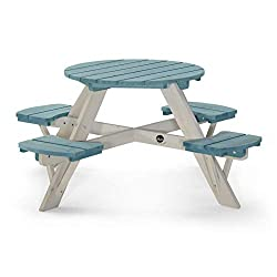 The Plum circular picnic table is perfect for picnic parties and social play Little ones can pour the tea and serve the cakes on this unique teal colorpop table Made from FSC certified timber Perfect for long summer days out in the garden with frien...