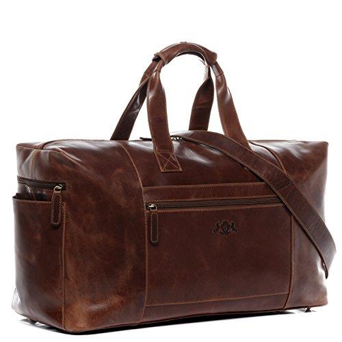 SID & VAIN® borsa viaggio tracolla vera pelle vintage BRISTOL grande XL borsone bagaglio a mano sportiva 50 l duffle bag weekend uomo donna cuoio marrone