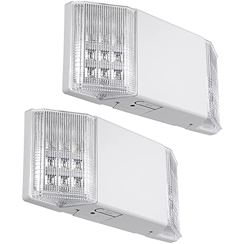 TORCHSTAR LED Emergency Light, Commercial Emergency Lights with Battery Backup, UL Listed, Two Square Heads, AC 120/277V, Hardwired Emergency Exit Lighting Fixture for Business, Pack of 2