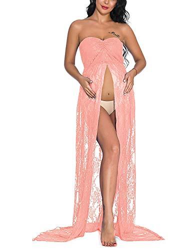 DISON Mujer Embarazada Encaje Vestido de Fiesta Largos con Aberturas,Premamá Faldas Fotografía,Foto Shoot Dress de Maternidad Rosa XL