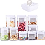 DRAGONN 9 Piece Airtight Food Storage Container Set with Labels, Pantry Organization and Storage, Keeps Food Fresh, Big Sizes Included, Durable, BPA Free Containers, DN-KW-FS09