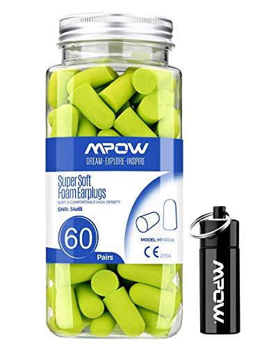 Mpow 055A Ear Plugs 60 Pairs Super Soft Foam Ear Plugs 34dB SNR Noise Reduction Hearing Protector with Aluminum Carry Case for Sleeping Woodworking Shooting Travel Loud EventsGreen