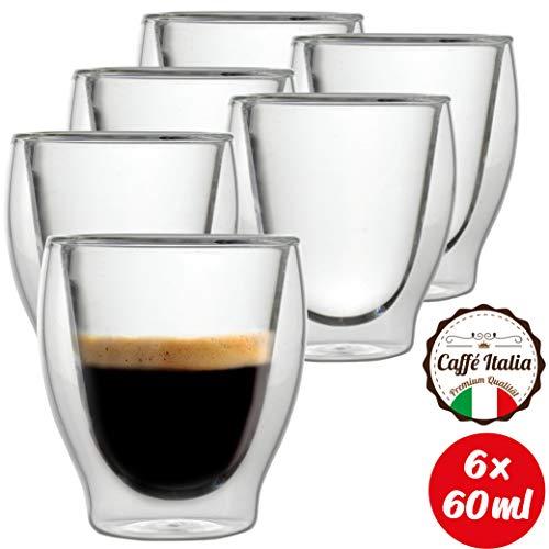 Caffé Italia Milano 6 x 60 ml Doppelwand-Thermo-Gläser - für Espresso Tee Heiß- und Kaltgetränke - spülmaschinengeeignet