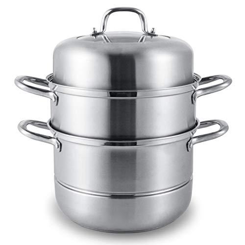 Dampfgarer aus Edelstahl, Dampfgarer mit Glasdeckel, kompatibel mit Induktions-Kochfeld, für Küche, 30 cm