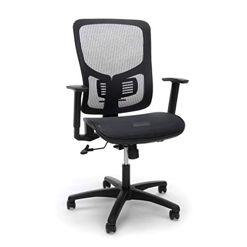 OFM Essentials Collection Mesh Seat Ergonomic Office Chair with Lumbar Support, in Black