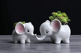 Cuteforyou Cute Cartoon Animal Elephant Shaped Ceramic Succulent Cactus Vase Flower Pot