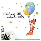Little Deco Kinderzimmer Wandtattoo Fuchs & Spruch Fliege zum Glück I 87 x 50 cm (BxH) I Luftballons Wandbilder Deko Babyzimmer Junge Wandsticker Kinder DL206-1