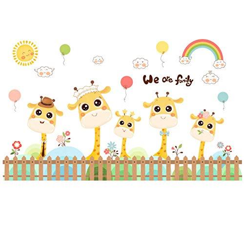 GWFVA Cartoon line taille lijn giraf rokken muur sticker schattige ornament stickers