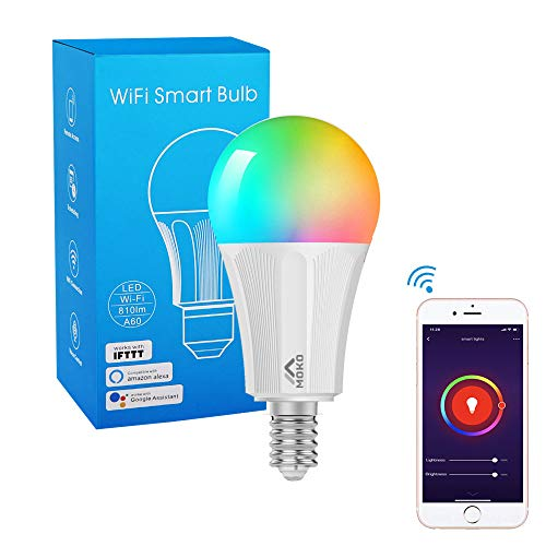 MoKo Lampadina LED E14 Colorate RGB, Intelligente Lampadine Controllo Remoto WiFi, 9W Luce Calda Dimmerabile, Lavora con Alexa Echo, Google Home per Controllo App Smart Life No Hub - Bianco
