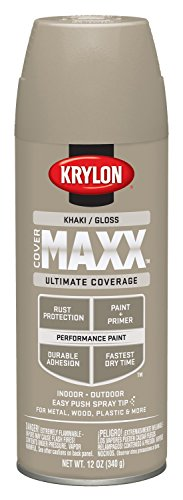 Krylon K09127000 COVERMAXX Spray Paint, Gloss Khaki, 12 Ounce