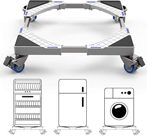 DEWEL Supporto per lavatrice, base per frigorifero e lavatrice e asciugatrice, lunghezza regolabile 44.8 cm-69 cm, carico di supporto 300 kg, con effetto di riduzione del rumore