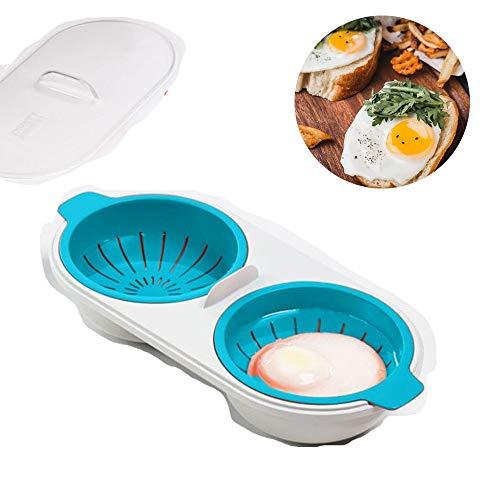 ZGL Eier-Wilderer-Tassen, Mikrowellen-Eierkocher, pochierte Eier-Tassen, Eierschale für die Mikrowelle im Fernsehen, einfach zu bedienen, kalorienarmes Essen, spülmaschinenfest (Color : Blue)