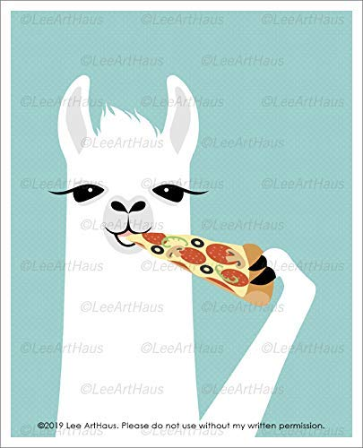 58J - White Llama Eating Slice of Pizza UNFRAMED Wall Art Print by Lee ArtHaus