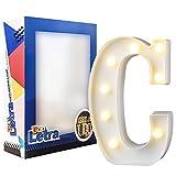 DON LETRA Letras Luminosas Decorativas con Luces LED, Letras del Alfabeto A-Z, Altura de 22cm, Color Blanco - Letra C
