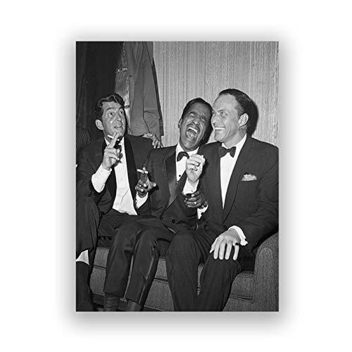 UpperPin Rat Pack Leinwand Malerei Wandbilder Frank Sinatra Dean Martin Sammy Davis Schwarz Weiß Kunstdruck Wohnzimmer Dekor -50x70cmx1pcs -Kein Rahmen