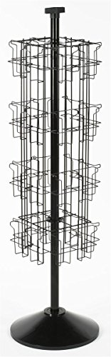 Black Wire Rotating Display Rack with 32 Pockets for 4 x 9 Brochures, Free-Standing with Attached Sign Clip